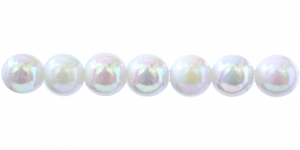Valge AB-kattega ümar plasthelmes, 10mm, BP7