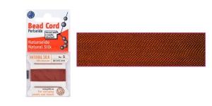 100% Silk Beading Thread, #5; ø0,65 mm, 2 m, color: garnet, Beadalon JH05S-GARNET-C