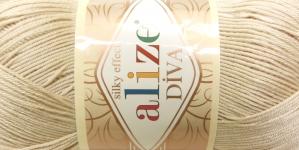 Siidja pinnaga akrüüllõng Diva Silk Effect; Värv 383 (Helebeež), Alize
