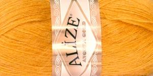 Mohäärisisaldusega lõng Alize Angora Gold, värv 02 sinepikollane