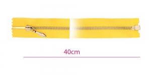 1022NI, Alt avatav 4mm hammastikuga metall-tõmblukk pikkusega 40cm, kollane, nikeldatud hammastikuga