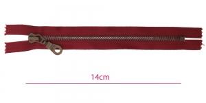 1361OX, Metall-tõmblukk pikkusega 14cm, 6mm antiikpronks hammastikuga, tume punane (burgunder), (Coats, Opti)