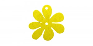 Lillekujuline kollane puitdetail, Wooden Yellow Flower Pendant, 25 x 2mm, IO159