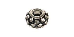 EN177 14x9mm Must, hõbedane, värvitute kristallidega, lapik pandora tüüpi metallhelmes