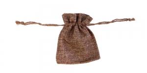 Tumepruun linasest kangast kinkekott, 10x8cm, PA43