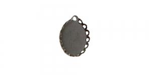 Hematiit ripatsi toorik, Hematite Oval Pendant Base, 12 x 9mm, EG80