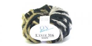 Karvase servaga sallilõng Shape Linie 316; Värv 0007 (Mustjashall koos halli ja beežiga) / ONline