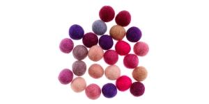 Handmade Felt Ball 25 pcs set, ø15 mm - 17 mm, Nepal wool, Habico HF118_PINKS