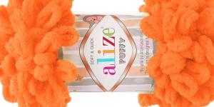 Pehme aasadega lõng Puffy Soft & Quick firmalt Alize, värv 336, oranž