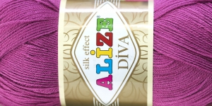 Siidja pinnaga akrüüllõng Diva Silk Effect; Värv 130 (Tumedam lillkasroosa), Alize