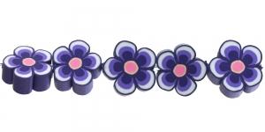 CE35_6 14x6mm Lillakirju lilleline polümeersavist helmes