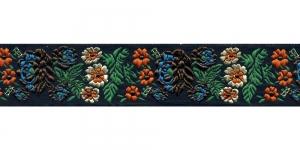 Mustal taustal lillemustriga kaunistuspael 35 mm, Art. 35097FC, värv V9 Must, kirju mustriga pael