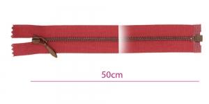 1374OX, Alt avatav 4mm hammastikuga metall-tõmblukk pikkusega 50cm, vaarikapunane, antiikpronks hammastikuga