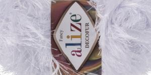 Karvane dekoratiivlõng Decofur, Alize, värv nr. 55, Valge