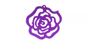 Roosikujuline Lilla puitdetail / Violet Wooden Rose Pendant / 50 x 2mm / IO68