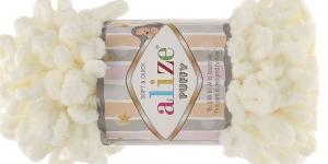 Pehme aasadega lõng Puffy Soft & Quick firmalt Alize, värv 62, loodusvalge
