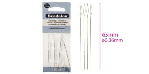 Medium Collapisble Eye Needles, 4pcs, 65mm, Beadalon 700H-100