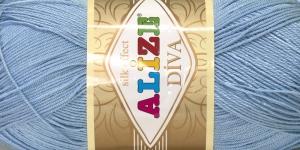 Siidja pinnaga akrüüllõng Diva Silk Effect; Värv 350 (Helesinine), Alize