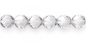 Ümar tahuline klaaspärl, Tšehhi, 14mm, Värvitu läbipaistev, LH1A