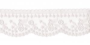 Õrn tüllile tikitud äärepits laiusega 9 cm, WT-30693, värv valge