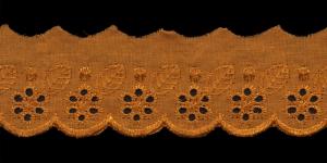 Broderiipitsid õite ja lehtedega laius 50mm Nr.2 Oranžikas helepruun