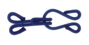 Tekstiiliga kaetud haak, kasukahaak, 15mm x 35mm, värv: sinine