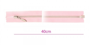 1323NI, Alt avatav 4mm hammastikuga metall-tõmblukk pikkusega 40cm, roosa, nikeldatud hammastikuga