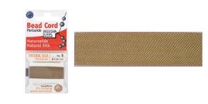 100% Silk Beading Thread, #5; ø0,65 mm, 2 m, color: beige, Beadalon JH05S-BEIGE-C