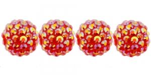 EN232L 16mm Punane plastikkristallidega helmes