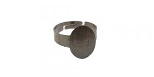 Sõrmusetoorik ovaalse plaadiga Hematiit / Hematite Round Finger Ring Base / 16mm / EA69