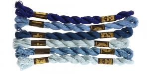 Pärlniit Nr.5, DMC vihis, komplektis 6tk, sinised toonid, 1