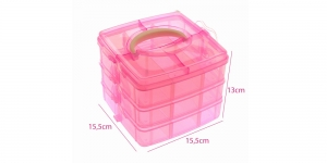 Stackable storage box es, 3 levels, 15,5 x 15,5 x 13 cm, bright pink, KL1285