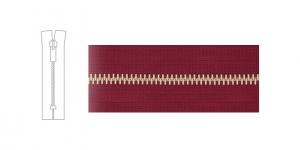 3912NI, Metallivetoketju, umpiketju, pituus 21cm-22cm, 6mm hammastus, punaviinipunainen, nikkelipinnoite metalliosissa