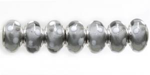 KL52 14x7mm Tumehall, valgete täppidega pandora tüüpi helmes
