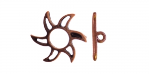 T-kinnis Antiikvaskne niklivaba / Antique Copper Toggle Clasp with Sun Design ni-free / 20mm / EJ5