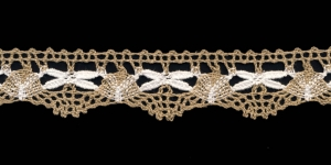 Puuvillane pits 3472-N1 laiusega 3 cm, värv linabeež valgega