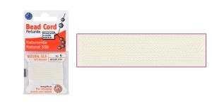 100% Silk Beading Thread; #5; ø0,65 mm, 2 m, color: White, Beadalon JH05S-WHITE-C