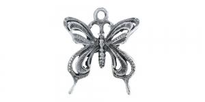 24mm Antiikhõbedane, liblikaga metallist riputis EG187