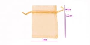 Organzakangast läbipaistev pidulik kinkekott satiin-krookepaelaga 10 x 7 cm, virsikhele /PA36