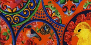 4876-13 Kirju muster, oranžil põhjal trikookangas, 160cm