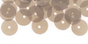 YB54 / Lamedad kettakujulised plastlitrid, läbikumavad hallikasbeezid / ø10mm