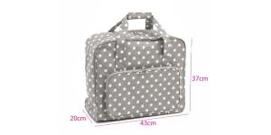 Suurem kandekott õmblusmasinatele Grey Linen Polka Dot (PVC), (d/w/h): 20 x 43 x 37cm, Hobby Gift MRB.268