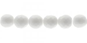 Ümar tahuline klaaspärl, Tšehhi, 14mm, Valge, läbipaistmatu, LN1076