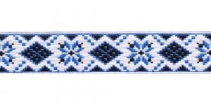 Rahvusliku mustriga kaunistuspael 25mm, Art.25944, värv sini-valge