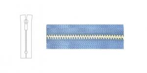 7584NI, 4mm hammastikuga metall-tõmblukk pikkusega 21cm-22cm, heledam sinine, nikeldatud hammastikuga