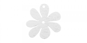 Lillekujuline valge puitdetail / White Flower Pendant / 25 x 2mm / IO160