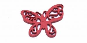 Liblikakujuline Punane puitdetail, 25 x 22mm, IO93