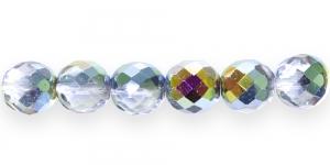 LP43 Ümar tahuline klaaspärl, Tšehhi, 14mm, Helehall läbipaistev 1/3 AB- kattega