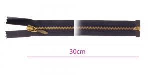 1000OX, Alt avatav 4mm hammastikuga metall-tõmblukk pikkusega 30cm, must, antiikpronks hammastikuga