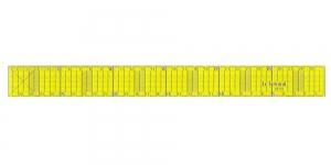Neoonkollane läbipaistev joonlaud, Neon Yellow Clear View Ruler 2cm x 30cm, Le Summit 34303